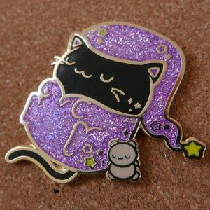 Sleepy Black Cat Enamel Pin